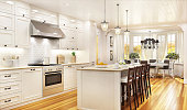 Luxury white kitchen and dining room in a large beautiful house