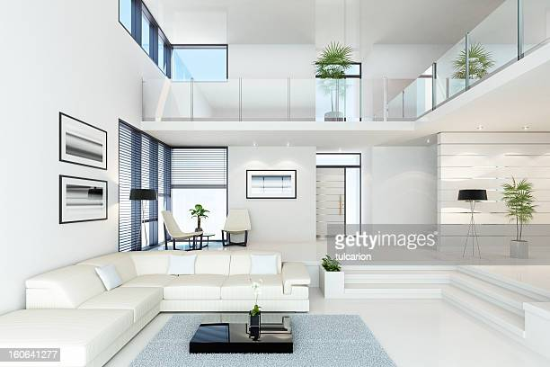 luxury white villa - loft stock photos and pictures