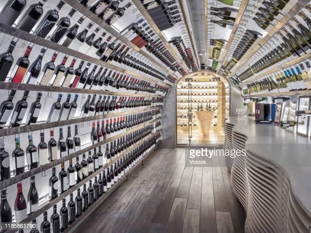 luxury wine cellar in the restaurant - ワインセラー ストックフォトと画像