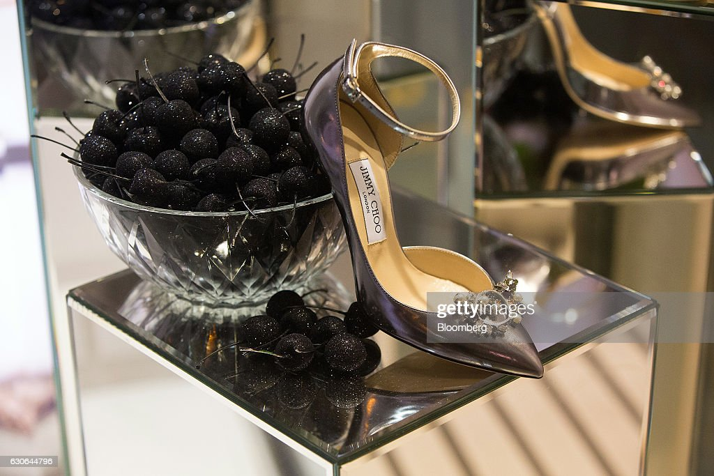 A luxury women's stiletto shoe sits on display at the Jimmy Choo Plc boutique on Kamergersky lane in Moscow, Russia, on Wednesday, Dec. 28, 2016. President-elect Donald Trump said Wednesday that the U.S. should move on rather than retaliate against Russia for interfering in the 2016 election, with the Obama administration expected to soon take action against Moscow. Photographer: Andrey Rudakov/Bloomberg via Getty Images