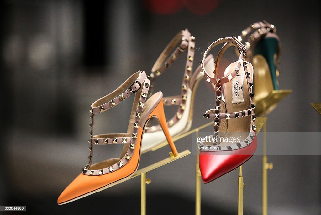 Luxury women's stiletto shoes, manufactured by Valentino SpA, sit on display at a store in Moscow, Russia, on Thursday, Dec. 29, 2016. President-elect Donald Trump said Wednesday that the U.S. should move on rather than retaliate against Russia for interfering in the 2016 election, with the Obama administration expected to soon take action against Moscow. Photographer: Andrey Rudakov/Bloomberg via Getty Images