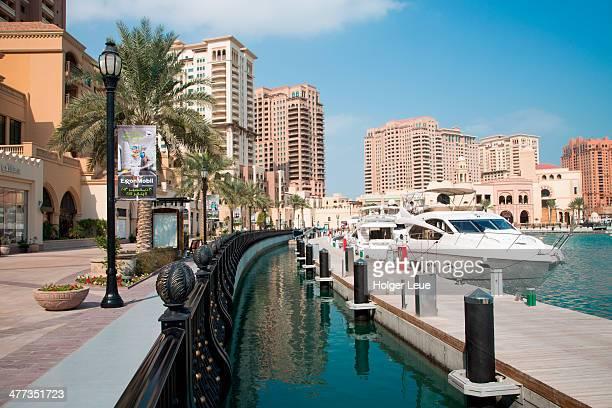 Luxury yacht at Porto Arabia marina, The Pearl