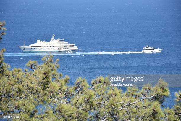 A luxury yacht belonging to Saudi Prince AlWaleed Bin Talal bin Abdulaziz al Saud is seen anchored on the shores of the Aegean sea resort of Bodrum's...