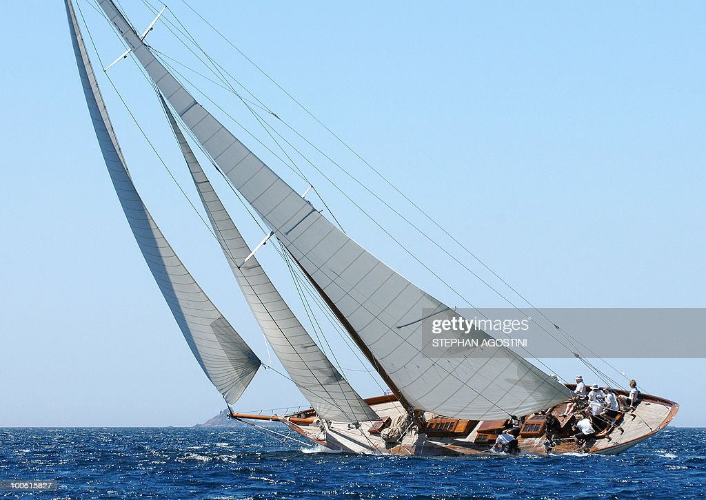 A luxury yacht sails on May 25, 2010 off