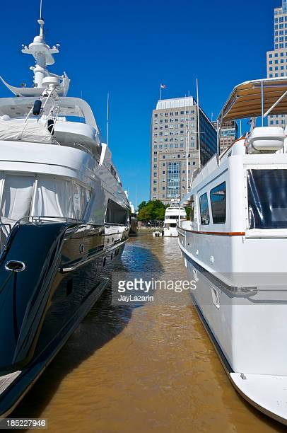 Luxury Yachts docked, North Cove Marina, Battery Park City, Manhattan