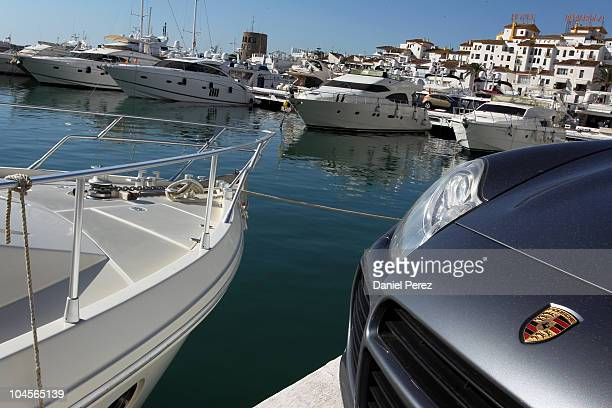 Luxury yachts float in the Puerto Banus harbour on September 29 2010 in Marbella Spain
