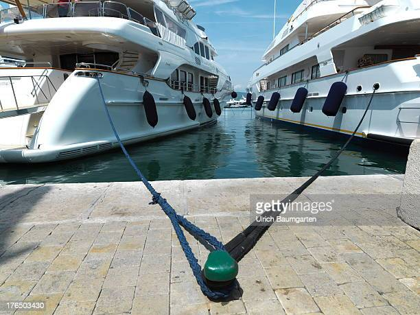 Luxury yachts in the harbour of Saint Tropez on June 22 2013 in Saint Tropez Cote d'Azur France