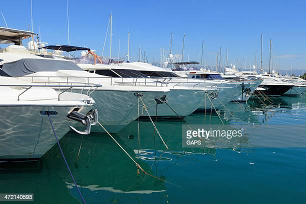 luxury yachts in the marina of Antibes