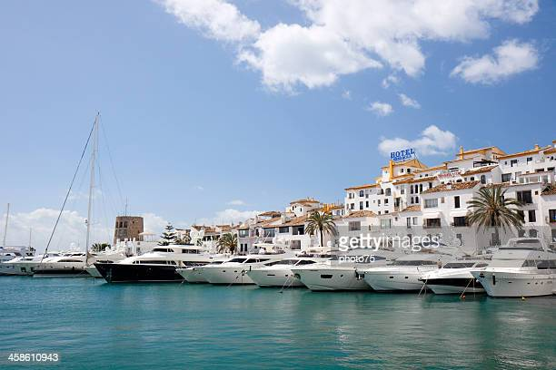 luxury yachts in the marina of marbella, spain - marbella stock pictures, royalty-free photos & images