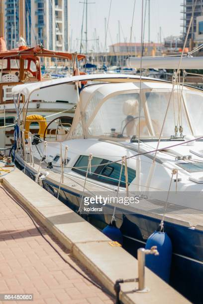Luxury yachts moored in Hertzliya city marina parking