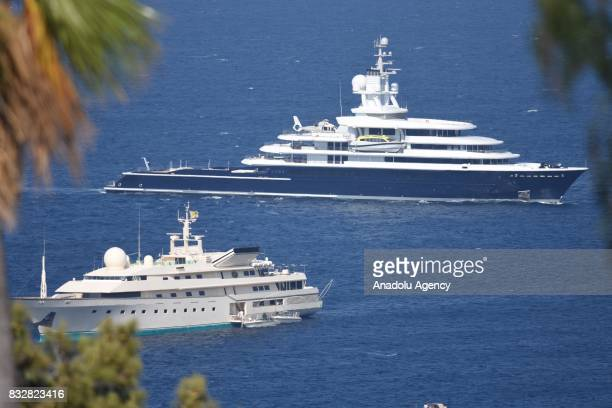 Luxury yachts of Russian businessman Farkhad Akhmedov and Saudi Prince AlWaleed Bin Talal bin Abdulaziz Al Saud anchor at Bodrum during their holiday...
