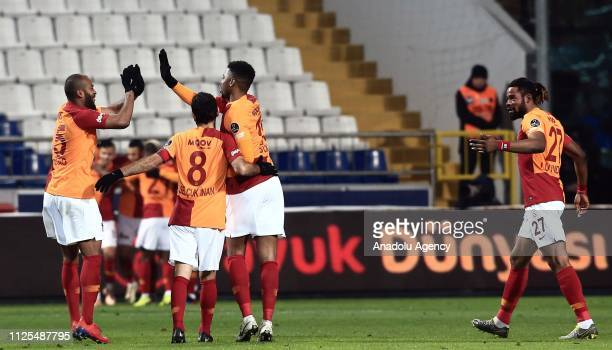 Luyindama Marcao Selcuk Inan and Ryan Donk of Galatasaray celebrate after Sofiane Feghouli's goal during the Turkish Super Lig soccer match between...