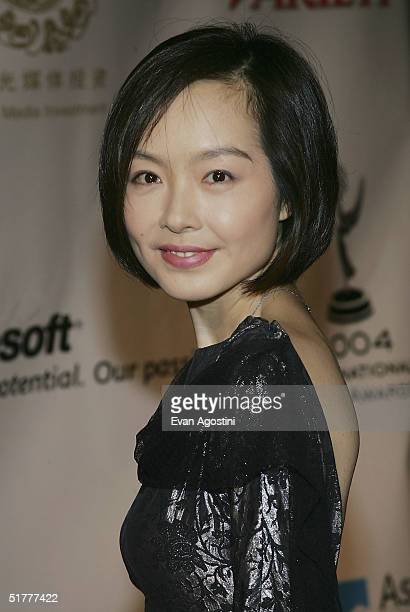 Luyu Chen host of Phoenix Chinese Channel's 'A Date with Lu Yu' based in Hong Kong arrives for the 32nd International Emmy Awards ceremony at the New...