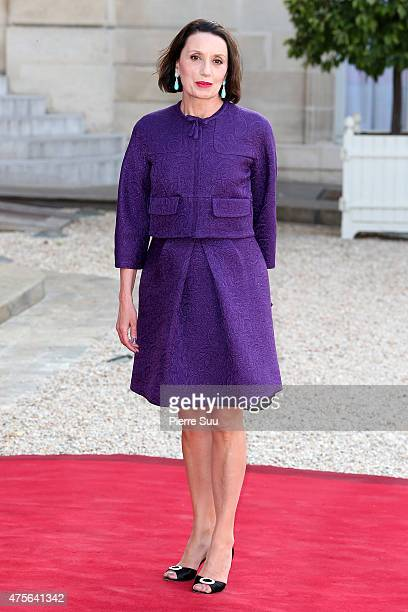 Luz Casal attends a state dinner in Honnor of King Felipe VI and Queen Letizia of Spain at the Elysee Palace on June 2 2015 in Paris France