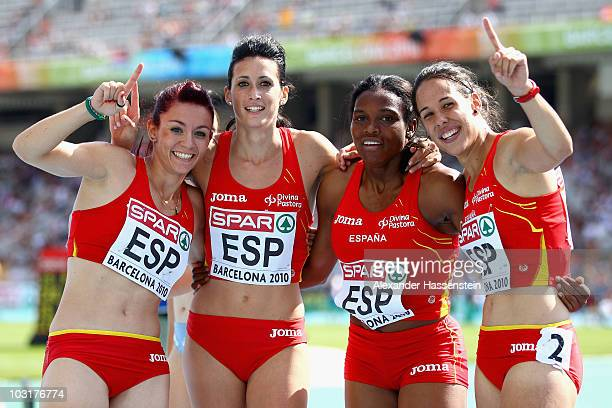 Luz Digna Murillo Estela Garcia Ana Torrijos and Maria Amparo Cotan of Spain compete in the Womens 4x100m Relay Heats during day five of the 20th...
