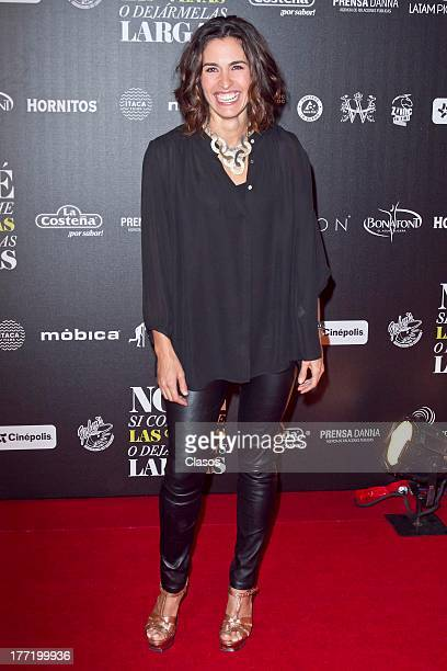 Luz Maria Zetina poses during the Red Carpet of the Mexican movie No Se Si Cortarme Las Venas o Dejarmelas Largas at Cinepolis Plaza Carso on August...