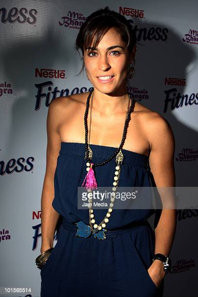 Luz Maria Zetina poses for a photo during the presentation of Bhangra Masala Workout for Nestle Fitness at Joy Room on June 2 2010 in Mexico City...