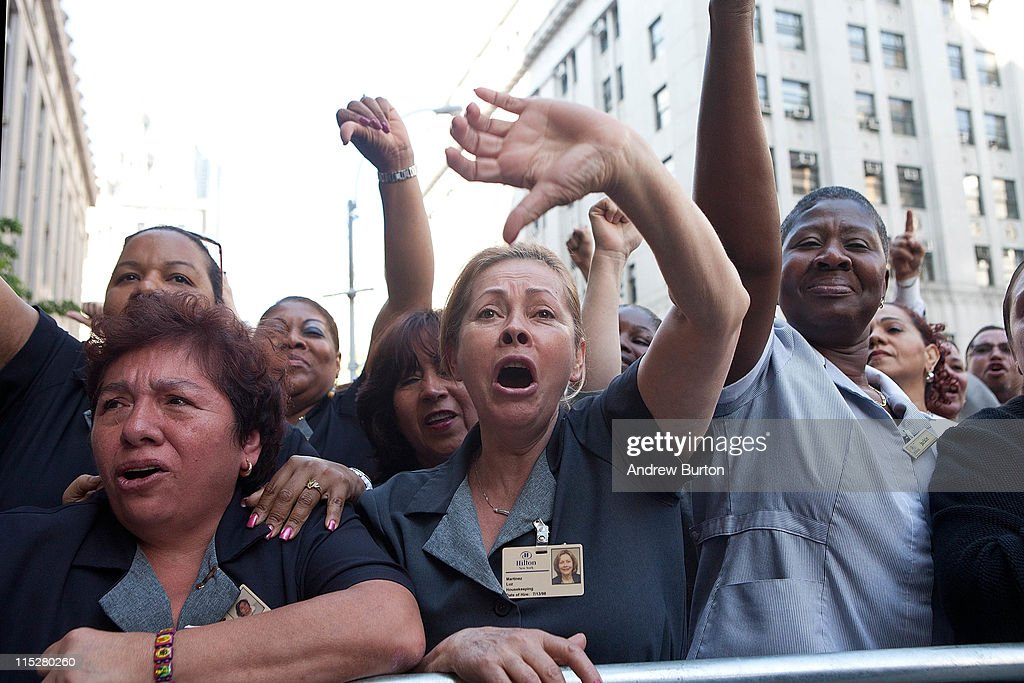 Luz Martinez, a housekeeping employee of the Hilton Hotel in New York, protests with a crowd of New York Hotel Workers' Union supporters against Dominique Strauss-Kahn outside the Manhattan Criminal Courts Building on June 6, 2011 in New York City. The crowd chanted 'Shame on you!' as Strauss-Kahn entered the building. The former IMF chief Dominique Strauss-Kahn is expected to deny charges that he sexually assaulted and tried to rape a Manhattan hotel maid.