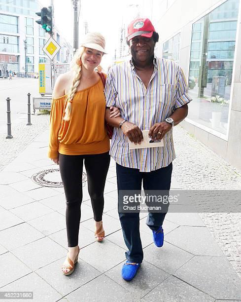Luzandra Strassburg and Roberto Blanco sighted leaving Tapas Bar on July 16 2014 in Berlin Germany