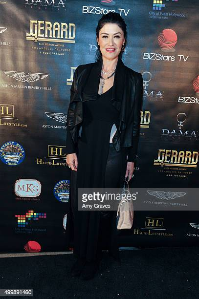 Luzelba Mansour attends the Project Divine from JGerard Peace Gallery a VIP celebrity cocktail event with black Carpet and silent auction and...