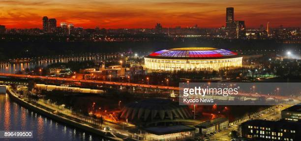 Luzhniki Stadium in Moscow is lit up in the colors of the Russian flag on Nov 8 2017 The stadium is a venue of the 2018 football World Cup finals in...