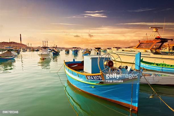 luzzu - maltese islands stock photos and pictures