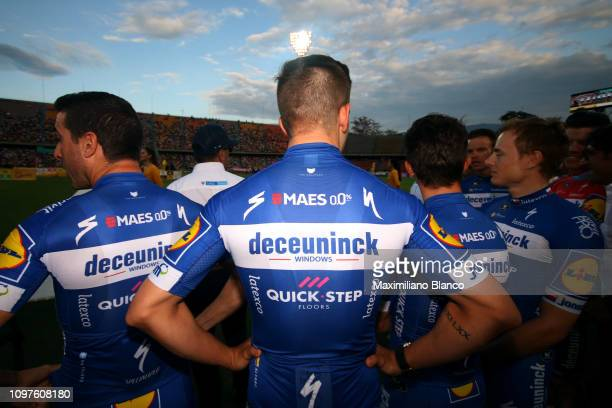 Álvaro Hodeg of Colombia and DeceuninckQuickstep Team / Bob Jungels of Luxembourg and DeceuninckQuickstep Team / Julian Alaphilippe of France and...