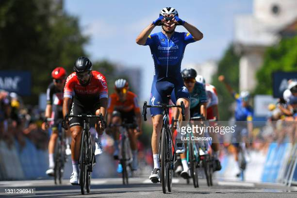Álvaro José Hodeg Chagui of Colombia and Team Deceuninck - Quick-Step celebrates at finish line as stage winner ahead of Nacer Bouhanni of France and...