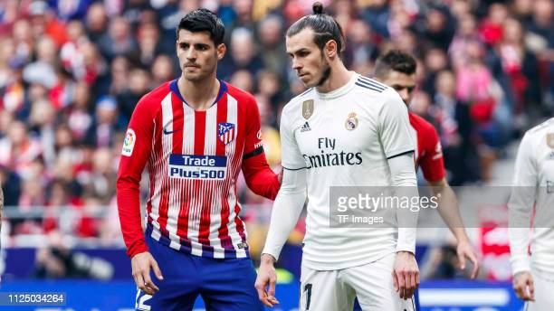Álvaro Morata of Atletico de Madrid and Gareth Bale of Real Madrid looks dejected battle for the ball during La Liga match between Atletico de Madrid...