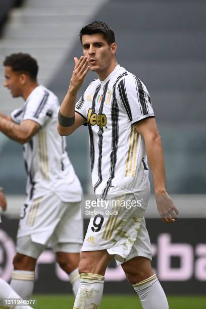 Álvaro Morata of Juventus FC celebrates a goal during the Serie A match between Juventus and Genoa CFC at Allianz Stadium on April 11, 2021 in Turin,...