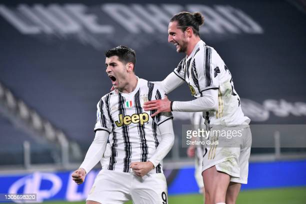 Álvaro Morata of Juventus FC celebrates a third goal with Adrien Rabiot of Juventus FC during the Serie A match between Juventus and SS Lazio at...