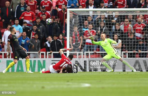 Álvaro Negredo of Middlesborough scores the opening goal during the Premier League match between Middlesbourgh and Manchester City at Riverside...
