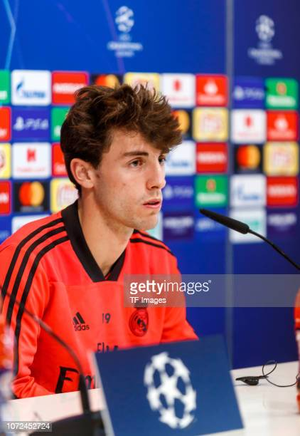 álvaro Odriozola of Real Madrid looks on during the Real Madrid Training and Press Conference on December 12 2018 in Madrid Spain