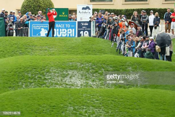 Álvaro Quirós of Spain hits their tee shot on the 10th hole during the resumption of the weather delayed first round on day two of Andalucia...