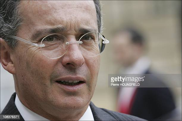 Álvaro Uribe in Paris France on January 21st 2008