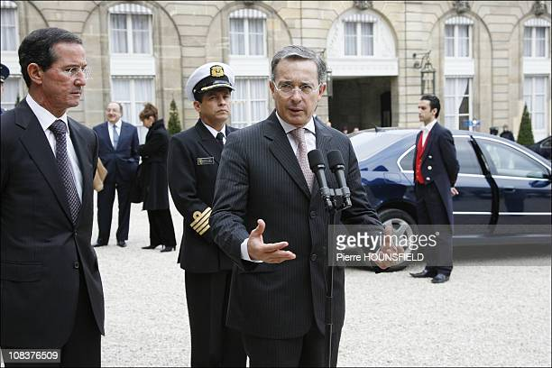 Álvaro Uribe Vélez in Paris France on January 21st 2008