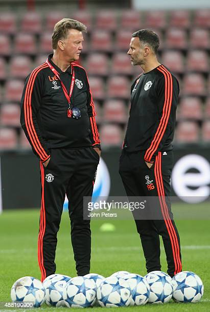 lvg and Assistant Manager Ryan Giggs of Manchester United in action during a first team training session ahead of their UEFA Champions League match...
