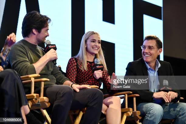 LVincent Piazza, Brianne Howey and Justin Cronin speak onstage during The Passage panel during New York Comic Con at Jacob Javits Center on October...