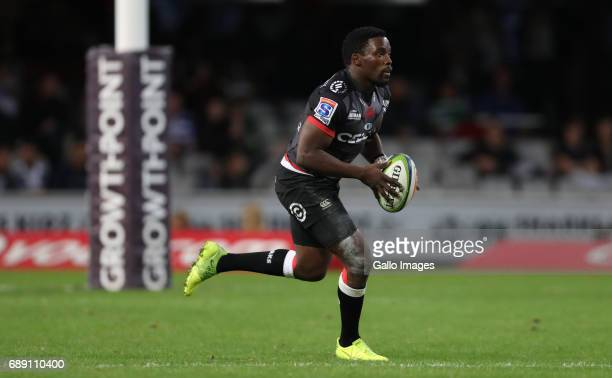 Lwazi Mvovo of the Cell C Sharks during the Super Rugby match between Cell C Sharks and DHL Stormers at Growthpoint Kings Park on May 27, 2017 in...