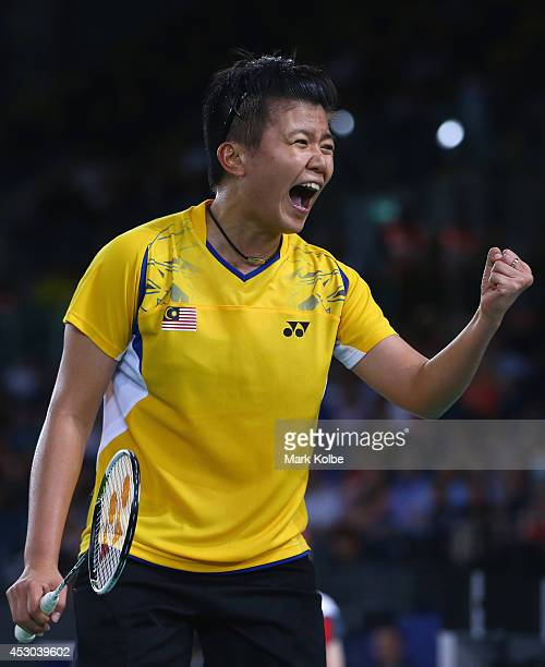 Ly Lim of Malaysia celebrates in the women's doubles badminton quarter-final match at Emirates Arena during day nine of the Glasgow 2014 Commonwealth...