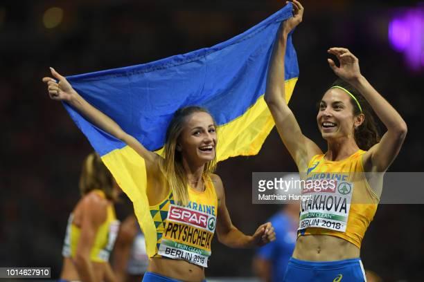 Lyakhova Olha of Ukraine celebrates winning Bronze with Nataliya Pryshchepa of Ukraine who celebrates winning Gold in the Women's 800m Final during...