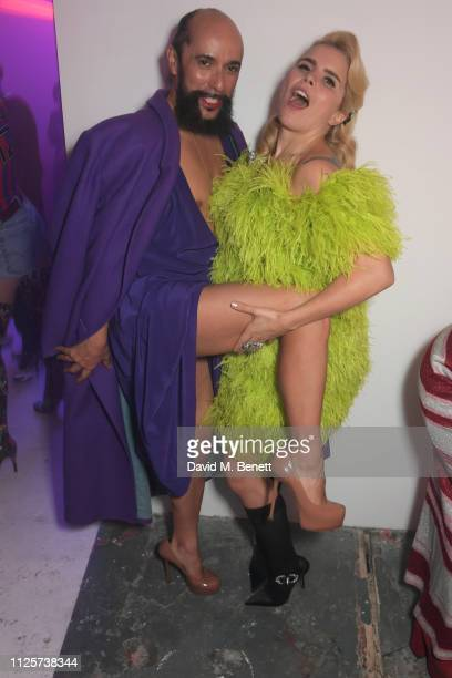 Lyall Hakaraia and Paloma Faith attend the LOVE x The Store X party celebrating LOVE issue 21 supported by Perrier Jouet at The Store X on February...