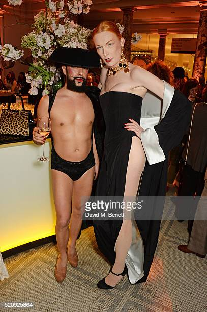 Lyall Hakaraia and Sybil Rouge attend a private view of new exhibition 'Undressed A Brief History Of Underwear' at The VA on April 13 2016 in London...