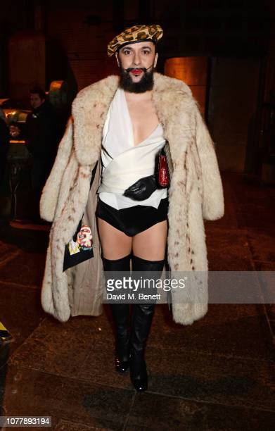 Lyall Hakaraia attends the Charles Jeffrey LOVERBOY show during London Fashion Week Men's January 2019 at Wapping Hydraulic Power Station on January...