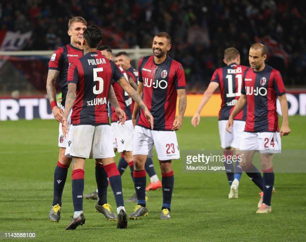 Lyanco of Bologna celebrates after scoring his team's third goal during the Serie A match between Bologna FC and Parma Calcio at Stadio Renato...
