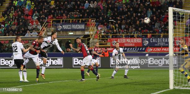 Lyanco of Bologna Lyanco scores his team's third goal during the Serie A match between Bologna FC and Parma Calcio at Stadio Renato Dall'Ara on May...