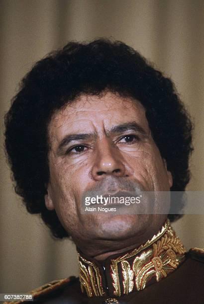 Lybian leader Col Muammar alQadhafi in 1983 Qadhafi was visiting the former prime minister of Tunisia M'Zhali at M'Zhali's home in Al Munastir |...