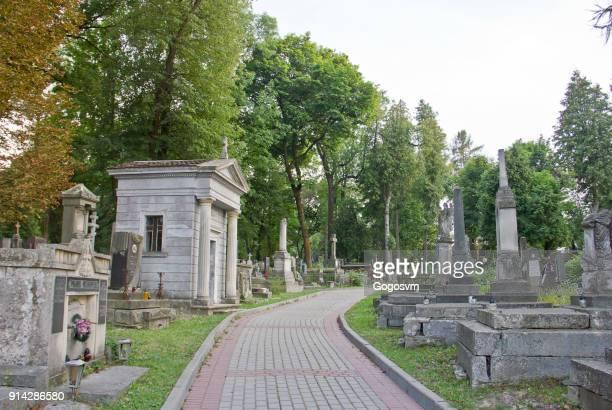 lychakiv kerkhof - ukrainian angel stockfoto's en -beelden