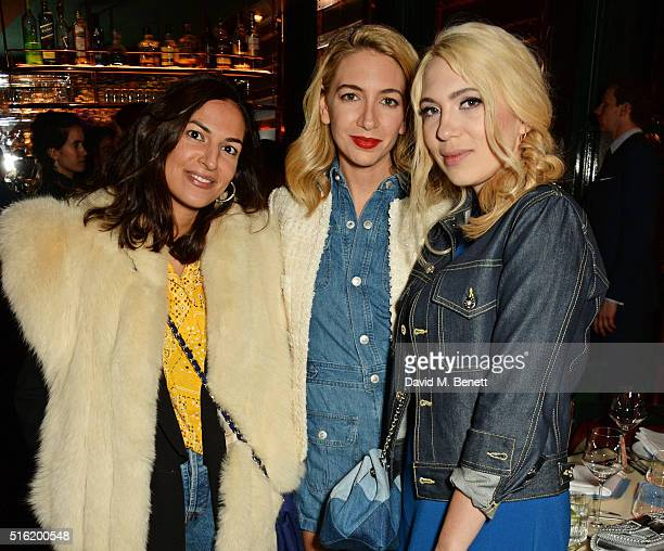 Lycia Sebah Sabine Getty and Camille Seydoux attend a dinner hosted by Roger Vivier to celebrate the Prismick Denim collection by Camille Seydoux at...