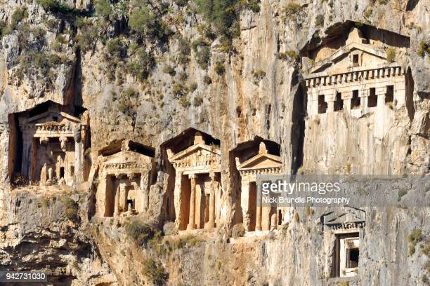 lycian rock tombs, fethiye, turkey - antalya province stock pictures, royalty-free photos & images